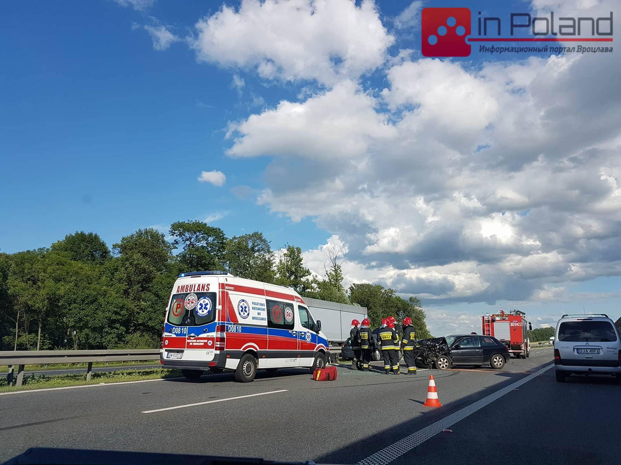 На объездной Вроцлава ДТП: дорога заблокирована