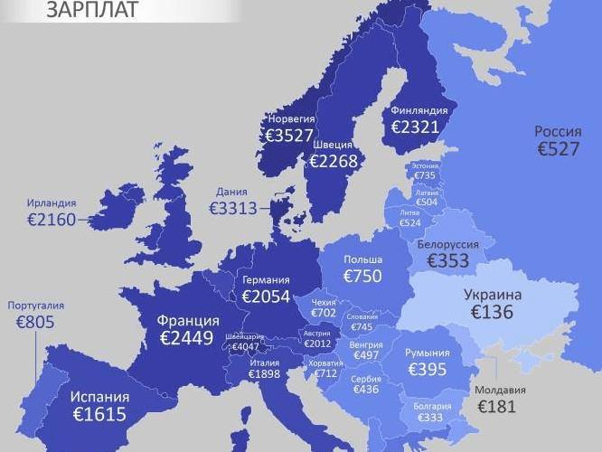 Карта зарплат в Європі. Україна — аутсайдер