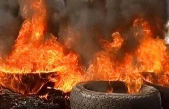 В Любані — велика пожежа. Горять шини