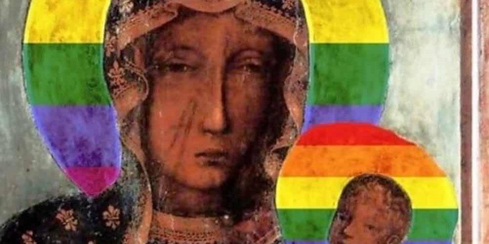 У Польщі затримали жінку за зображення Божої Матері у кольорах ЛГБТ