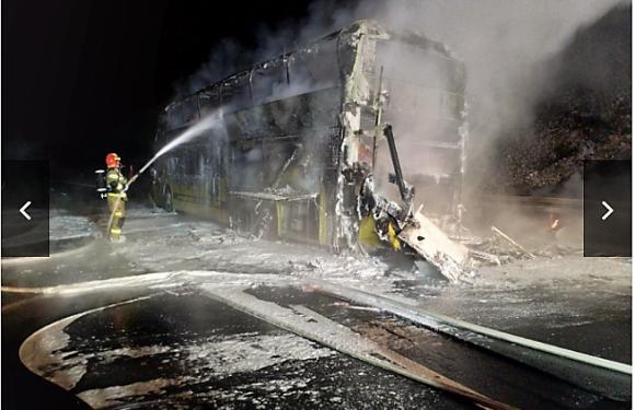 У Польщі згорів автобус з українськими туристами