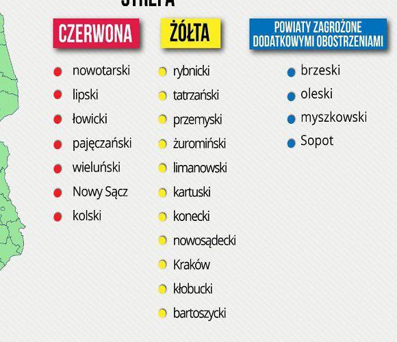 Польща змінила список «червоних» та «жовтих» зон