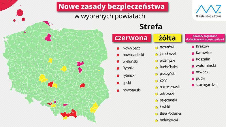 Новий список повітів червоної та жовтої зони