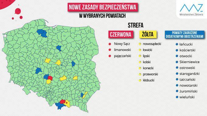 У Польщі новий список «червоних» та «жовтих» зон