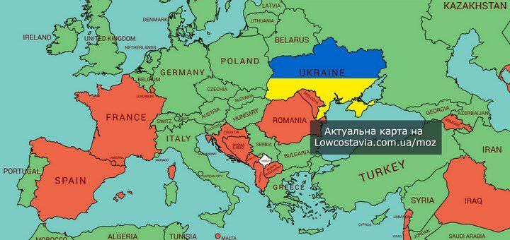 Держави «червоної» та «зеленої» зони від МОЗ України