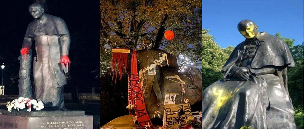 Папа Римський в крові: невідомі в Польщі знищили пам'ятники Яну Павлу II [+ФОТО]