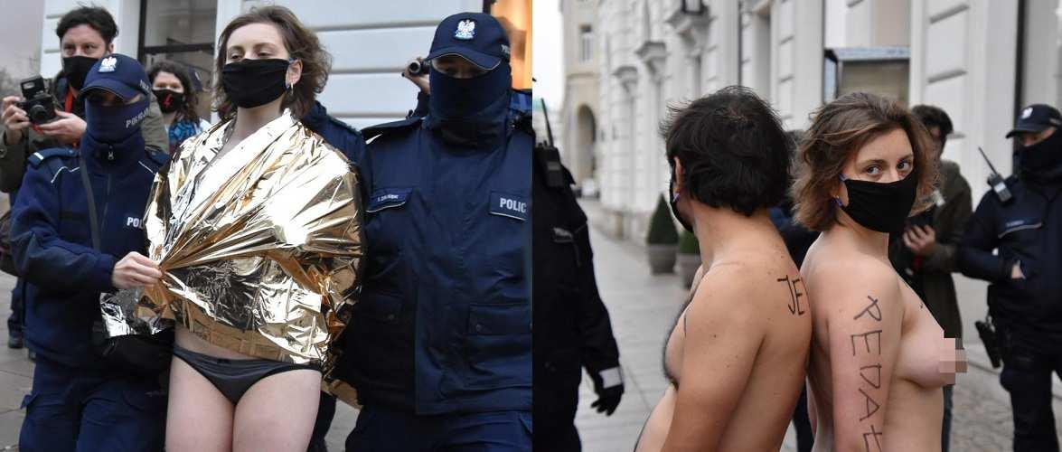 У Польщі пара роздяглася догола… прямо перед палацом президента [+ФОТО, ВІДЕО]