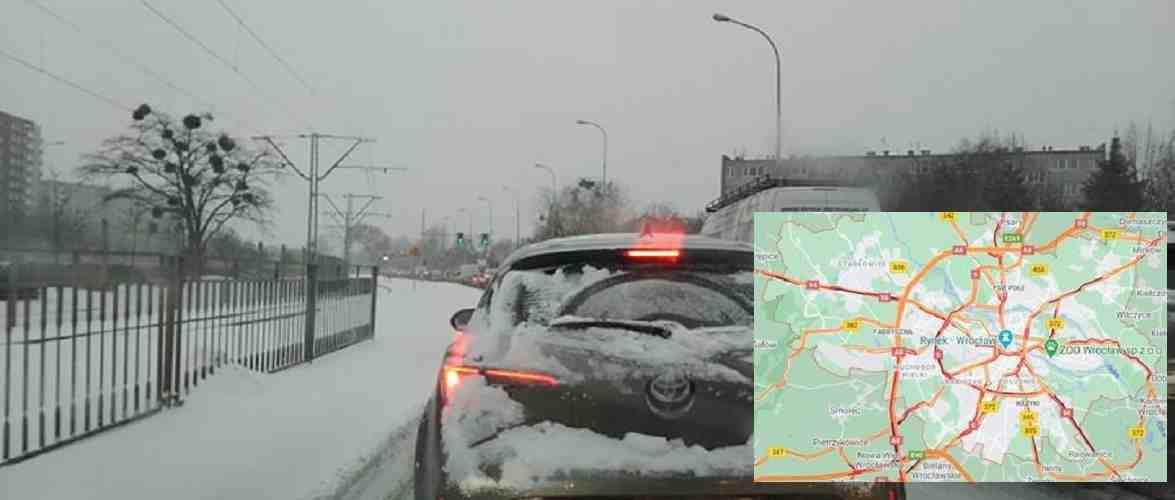 Затори, аварії, труднощі громадського транспорту в Вроцлаві [+ФОТО]