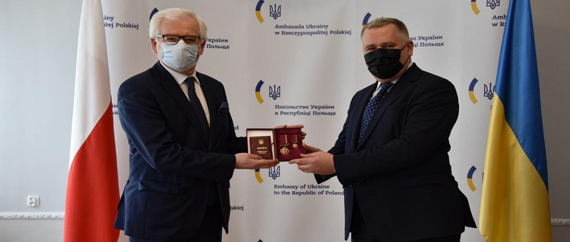Екс-міністру закордонних справ Польщі вручили український орден «За заслуги»