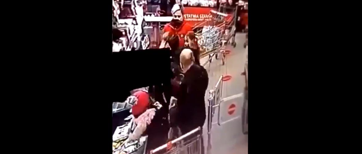 В магазині у Польщі чоловік побив жінку, бо та зробила йому зауваження через брак маски [+ВІДЕО]