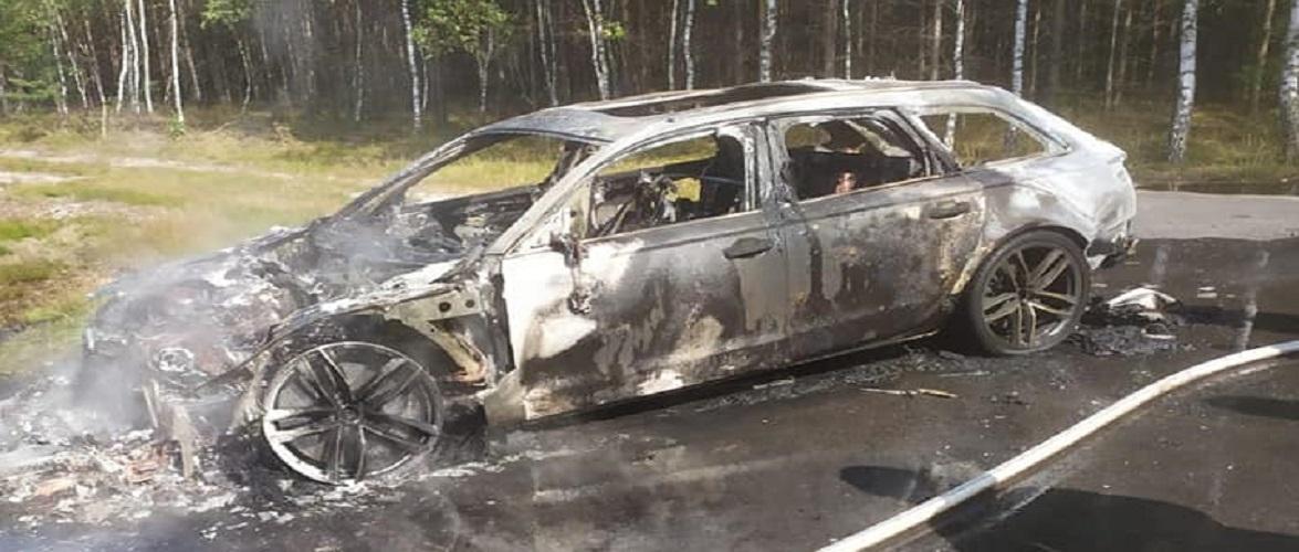 Їхали по гриби: в Польщі під час руху загорілося авто, вартістю 400 тис. злотих [+ФОТО]