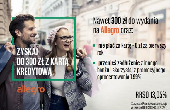BNP Paribas пропонує  бонус до 300 злотих на Алегро при відкритті кредитної карти в Польщі